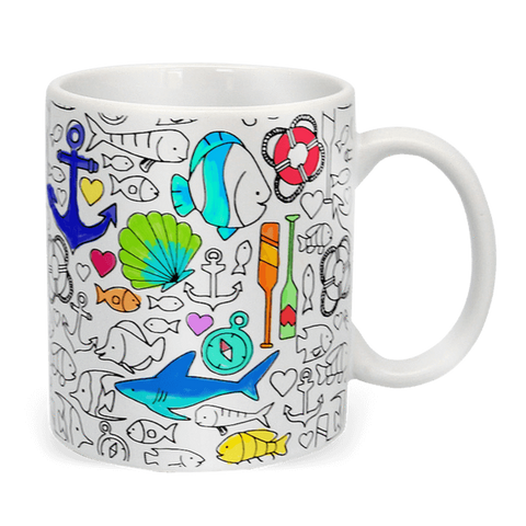 image of coloring coffee mug partially colored