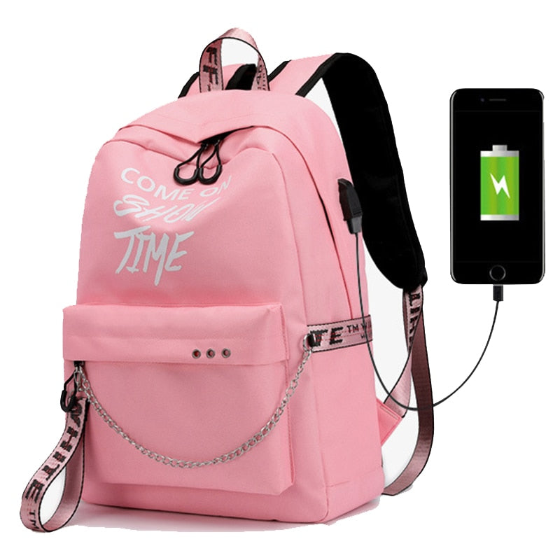 USB Charging Luminous Chain Nylon Backpack