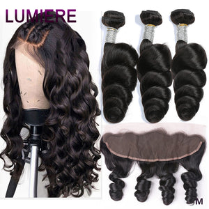 Brazilian Hair Weave Bundles With Frontal 13*4 Ear To Ear Closure