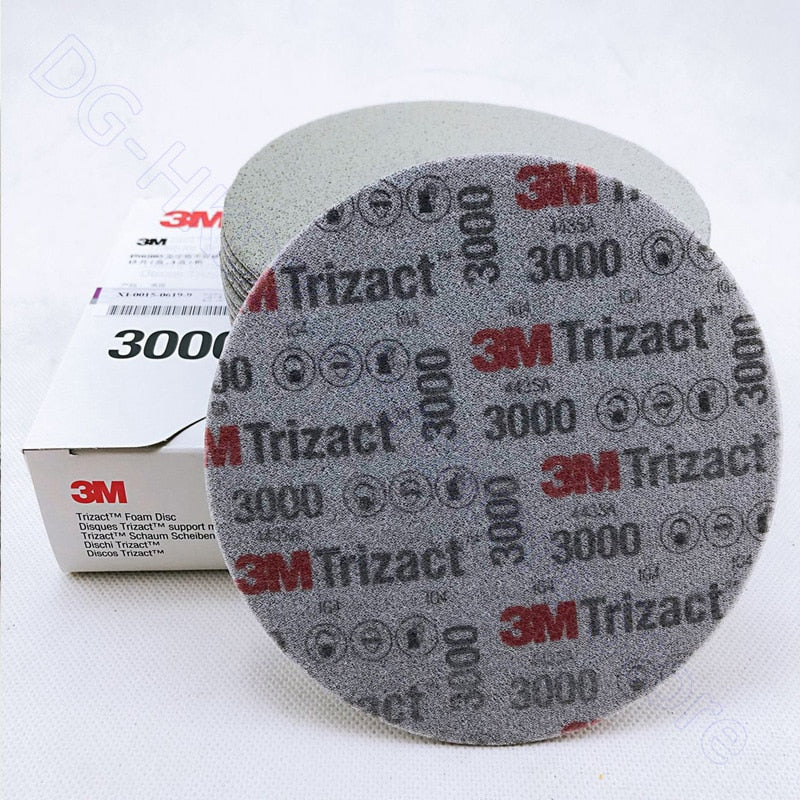 3M Trizact Foam Disc Flocking Sponge Sandpaper 6 Inch Self-adhesive Back 3000 5000 Grit Dry Water Sanding Paper
