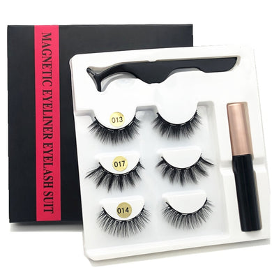 3 pairs of magnetic eyelashes, waterproof magnetic eyeliner and tweezers.