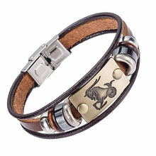 12 Zodiac Signs Bracelet With Stainless Steel  Leather Clasp ( 12 variants )