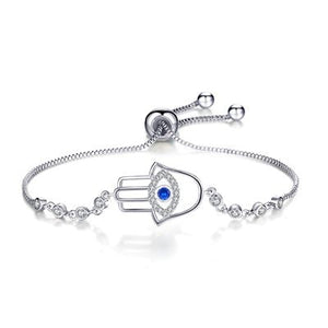Adjustable Trendy Silver Plated Blue Crystal Bracelet ( 16 variants )