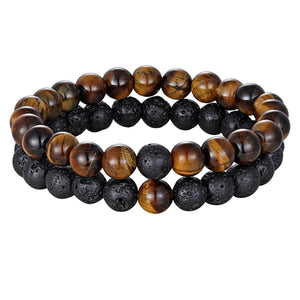 Hot 2pcs/set  Couples Natural Stone Bracelet ( 7 Styles )
