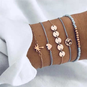 5 Piece Set Heart Map Charm Bracelets ( 5 variants )