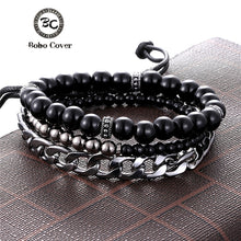 1 Set 3PCS Multi-layer Leather Beaded Charm Bracelet  ( 15 variants)