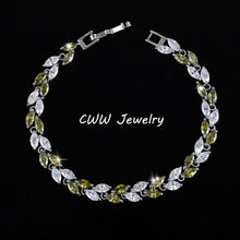 Trendy Silver Color Zirconia Leaf Charm  Bracelet ( 7 various colors available )