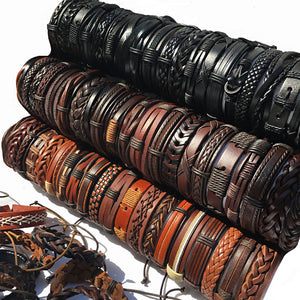 6 Piece Mix Styled Leather Braided Bracelets ( 17 Varieties )