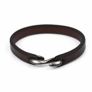 Vintage Black/Brown Genuine Leather Hook Bracelet ( many styles and lengths )