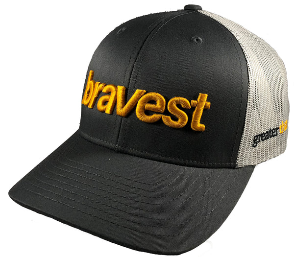 BRAVEST TRUCKER HAT-GREY/YELLOW