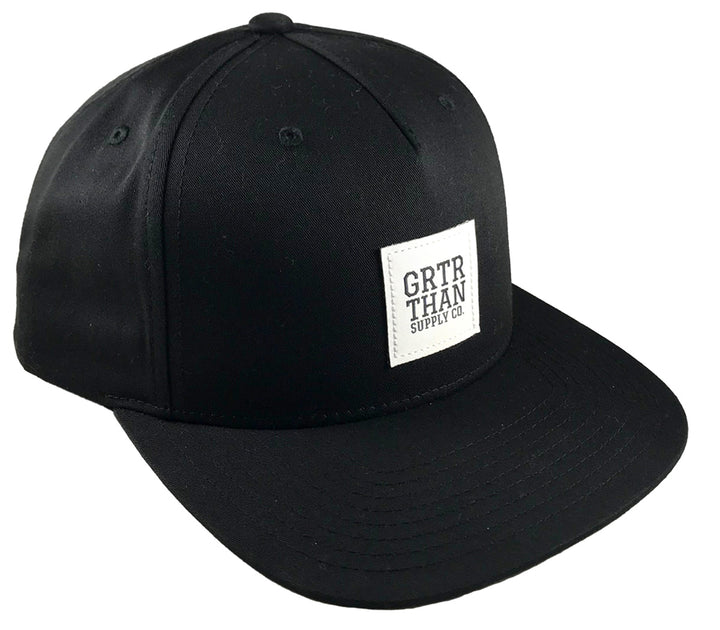 GRTR THAN WOVEN LABEL FLAT BILL HAT-BLACK
