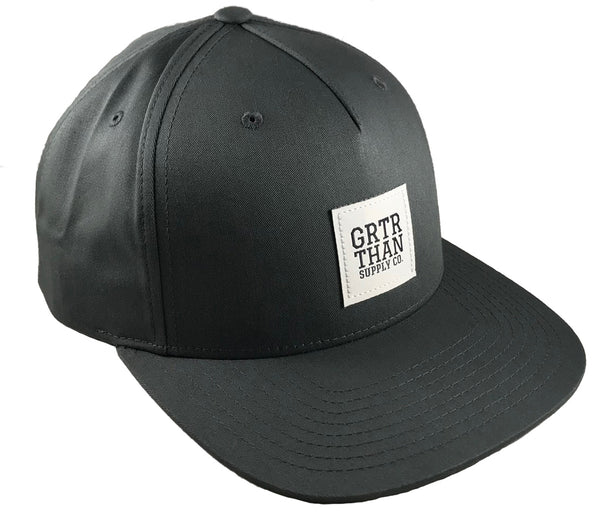 GRTR THAN WOVEN LABEL FLAT BILL HAT-GREY