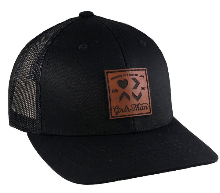 LOVE IS GREATER LEATHER PATCH TRUCKER HAT-BLACK (YOUTH)