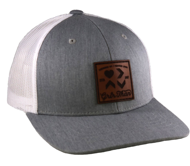 LOVE IS GREATER-LEATHER PATCH TRUCKER HAT-GREY/WHITE (YOUTH)