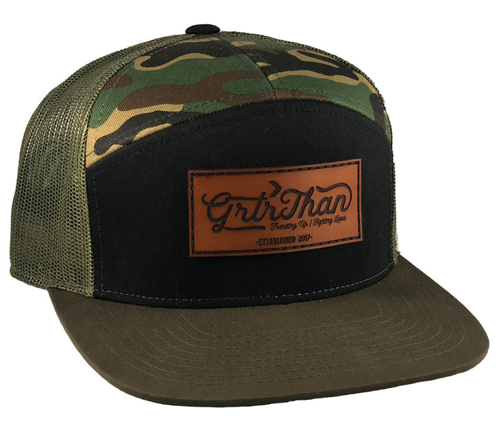 SCRIPT 7 PANEL FLAT BILL HAT- CAMO