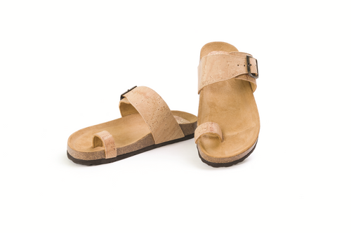 Beige Thong Cork Sandals for Women - Liore's Premium Cork