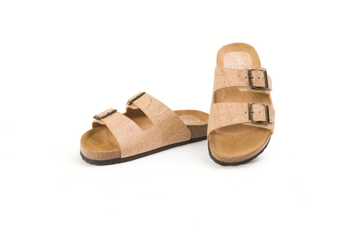 Beige Strappy Cork Sandals For Women - Liore's Premium Cork