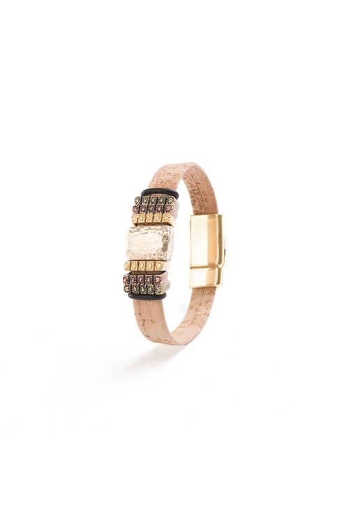 Cork Bracelet with Gold Beads & Black Band - Liore's Premium Cork