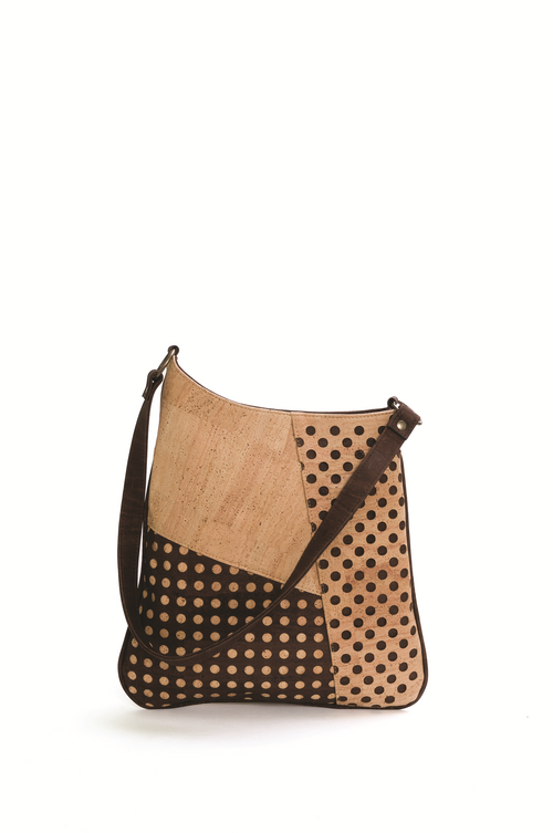 Beige and Dark Brown Asymmetric Cork Shoulder Bag - Liore's Premium Cork