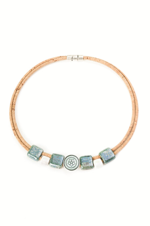 Necklace With Green And Beige Ceramics (Beige) - Liore's Premium Cork
