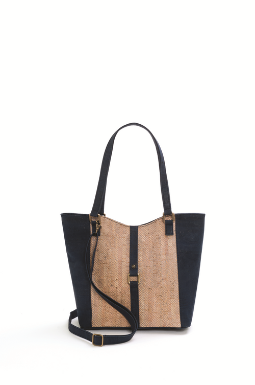 Dark Blue and Brown Cork Shoulder Bag - Liore's Premium Cork