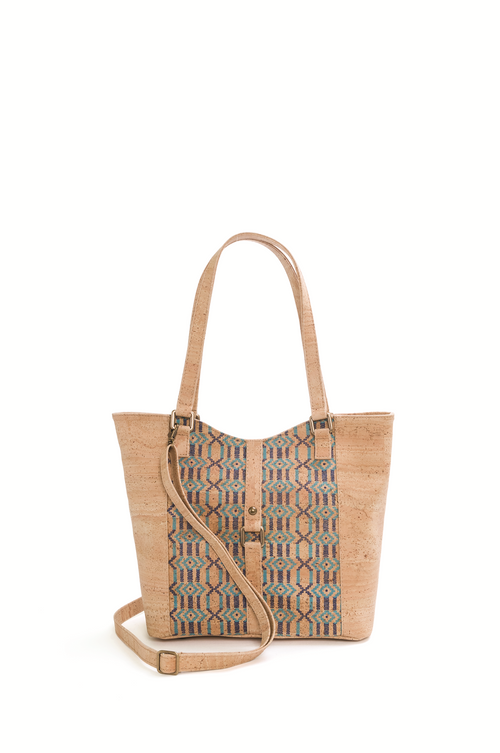 Ethnic Brown and Blue Cork Shoulder Bag - Liore's Premium Cork