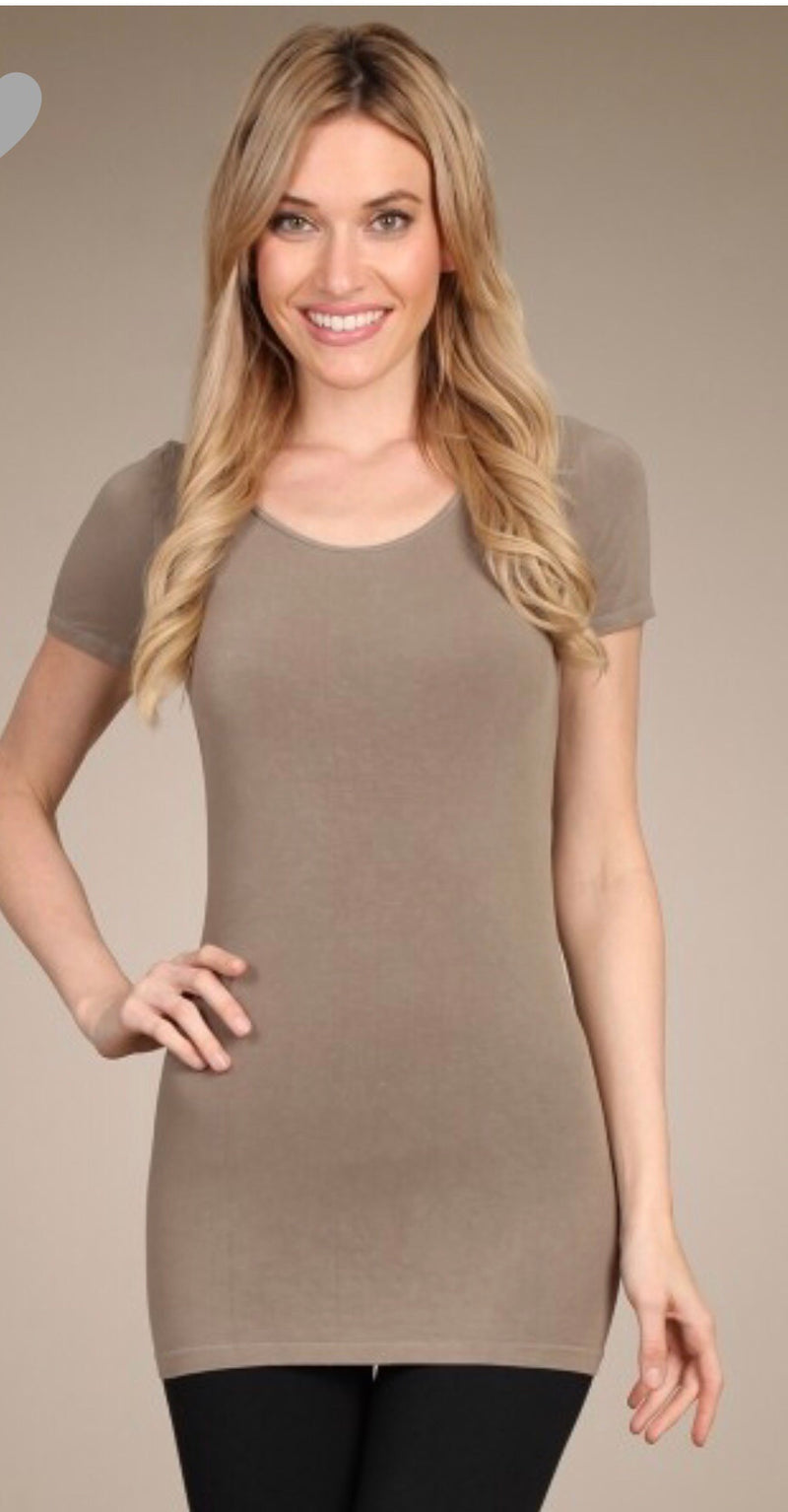 Scoop neck short sleeve top color sandstone - WenLeeMae Boutique