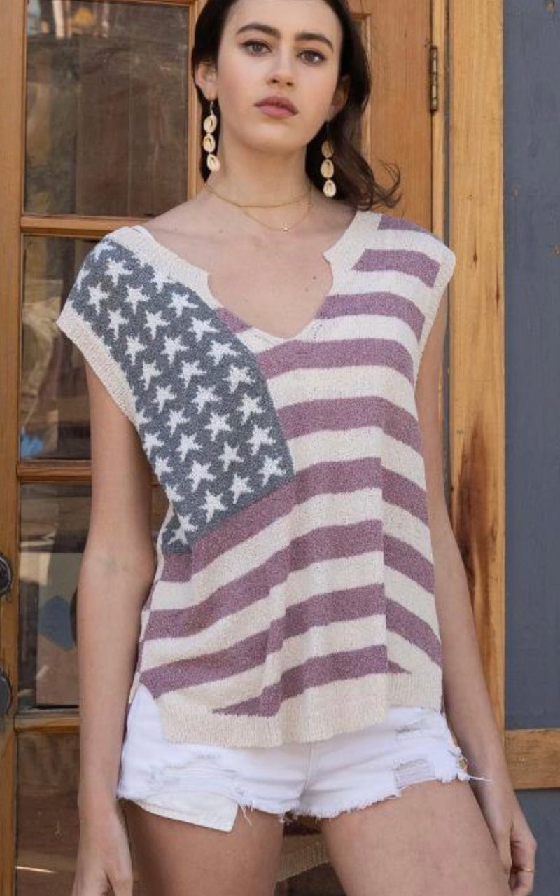 American Flag Sleeveless Sweater - WenLeeMae Boutique