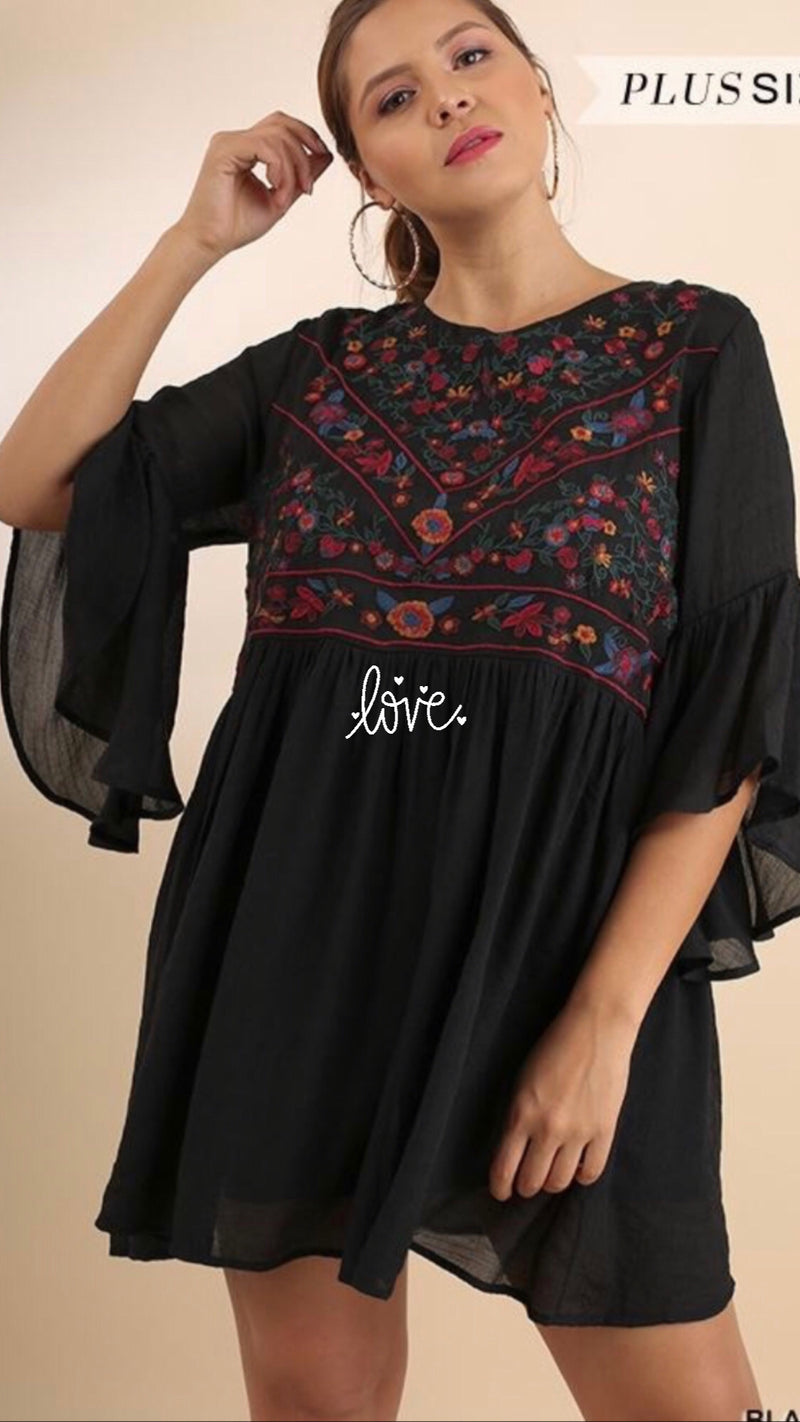 Embroidered Bell Sleeve Dress - WenLeeMae Boutique
