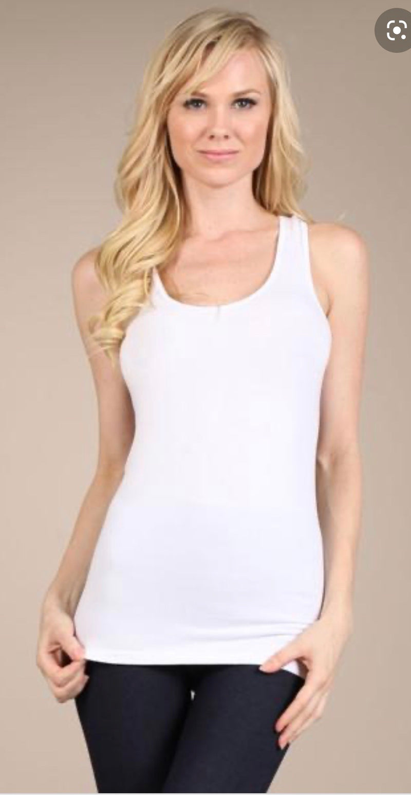 White scoop neck racer back top - WenLeeMae Boutique