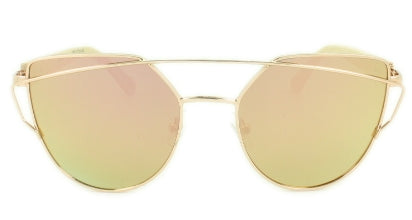 Bambi - Gold/Pink Mirror Lens - Rose Gold Frame Bamboo Arms