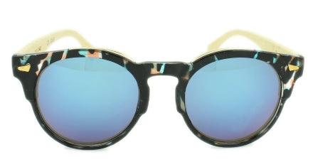 Grayson - Blue Mirror Multi Coat Lens  - Multi-Color Frame, Bamboo arms
