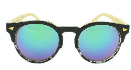 Grayson - Blue/Green Mirror Lens - Black and Clear Frame