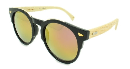 Grayson - Gold Purple Multi coat Mirror Lens - Black Frame , Bamboo arms