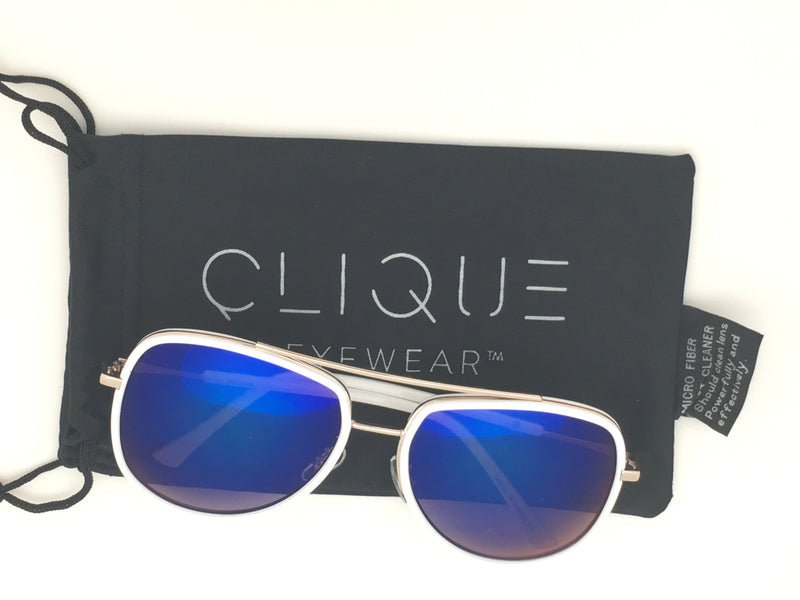 Olivia - Blue Mirror Lens - White and Gold Frame