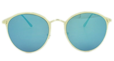 Rylee - Blue Mirror Lens - Gold Metal Frame