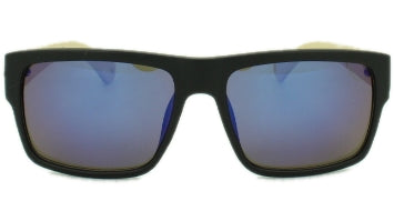 Woody - Blue Mirror Lens - Matte Black Frame with Bamboo Arms