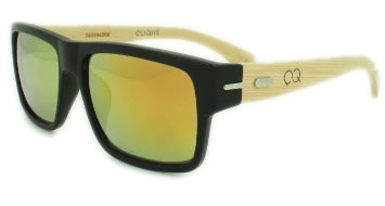 Woody - Gold Mirror Lens - Matte Black Frame with Bamboo Arms