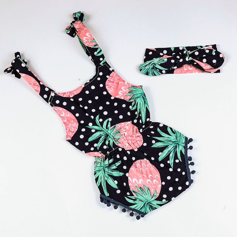 1b688c8483e5 Infant Toddler Pineapple Print Romper and Headband. Your baby girl will  look fun and on ...