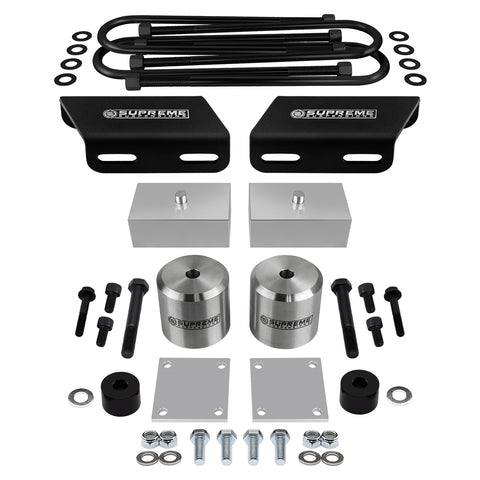 Full Lift Kit for 2005+ Ford F250 F350 Super Duty w//OVERLOADS 3 Front Lift Spring Spacers Brake Line Brackets Supreme Suspensions UBolts Black 1 Rear Lift Blocks Bump Stop Spacers 4WD