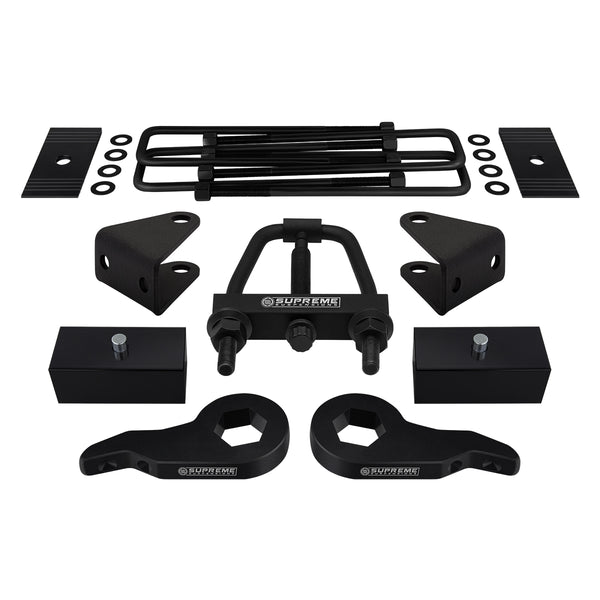 1988-1999 Chevy K3500 Full Suspension Lift Kit, Install Tool, Shock Extenders & Shims 4WD 4x4