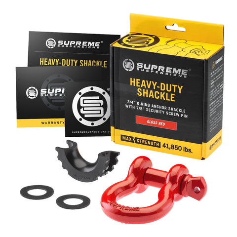 "Heavy-Duty 3/4"" D-Ring Anchor Shackle w/ 7/8"" Security Screw Pin - Gloss Red-Recovery-Supreme Suspensions-Supreme Suspensions®"