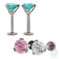 6mm 3 Prong-Set Round Faceted Gem on Flatback