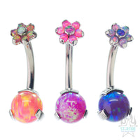 Opal Ball Navel Curve in Prong Setting with Flower Top - custom color combos