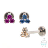 2mm Faceted Gem in Trinity (Menage a Trois) on Flatback