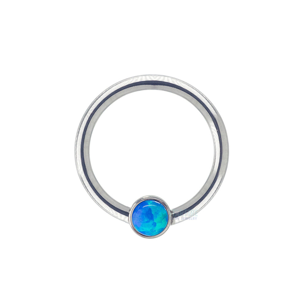 "16 ga. 3/8"" Captive Bead Ring (CBR) with 1/8"" Bezel-Set Opal Captive Bead"