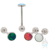 Opal Cabochon with ball bottom Tongue Barbell