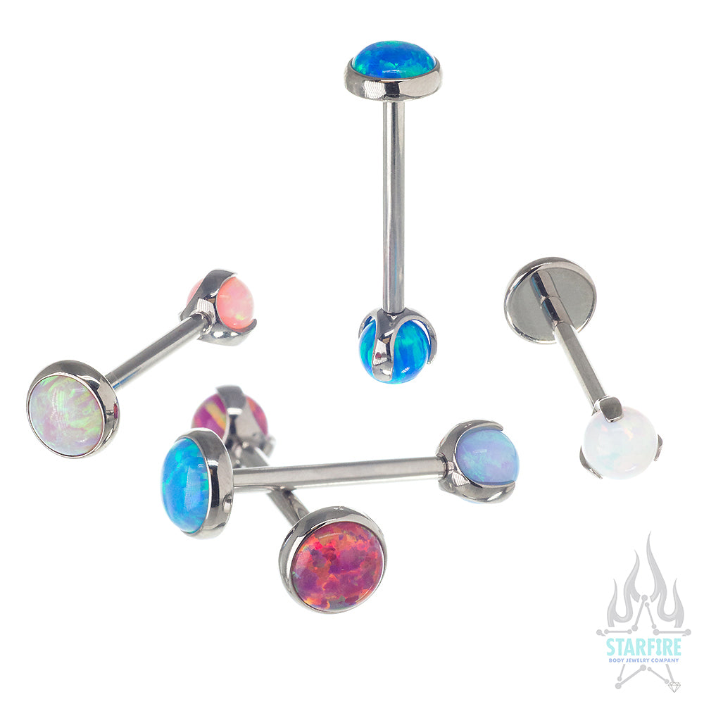 Opal Cabochon & Ball in Prong's Tongue Barbell
