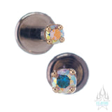 Prong-Set Mercury Mist Topaz in Gold - on flatback