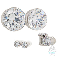 Single Gem BIG BLING Plugs (Eyelets) with Brilliant-Cut Gem - White CZ